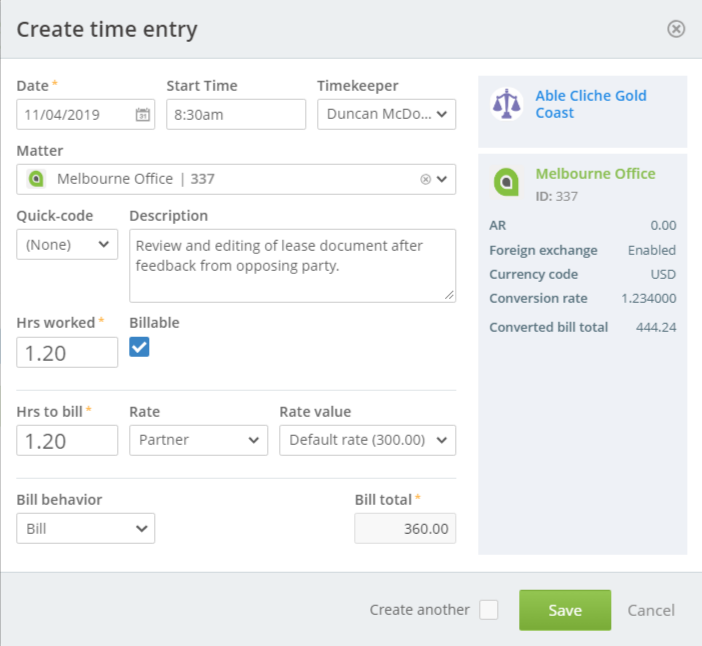 Screenshot Foreign Exchange Create Time Entry